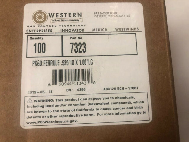 x 1.00/'/' LONG 10 EA WESTERN ENTERPRISES 7323 FERRULES .525/'/' ID