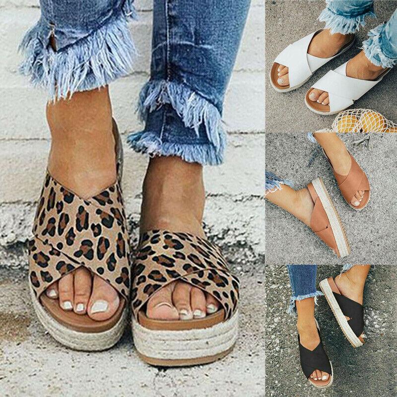 Femmes Leopard espadrilles compensées ete plage confortables compensées sandales chaussures