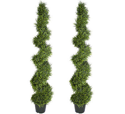 """6 foot 4 inch Artificial Cypress Spiral Topiary Tree Christmas Lights 76/"""" Cedar"""