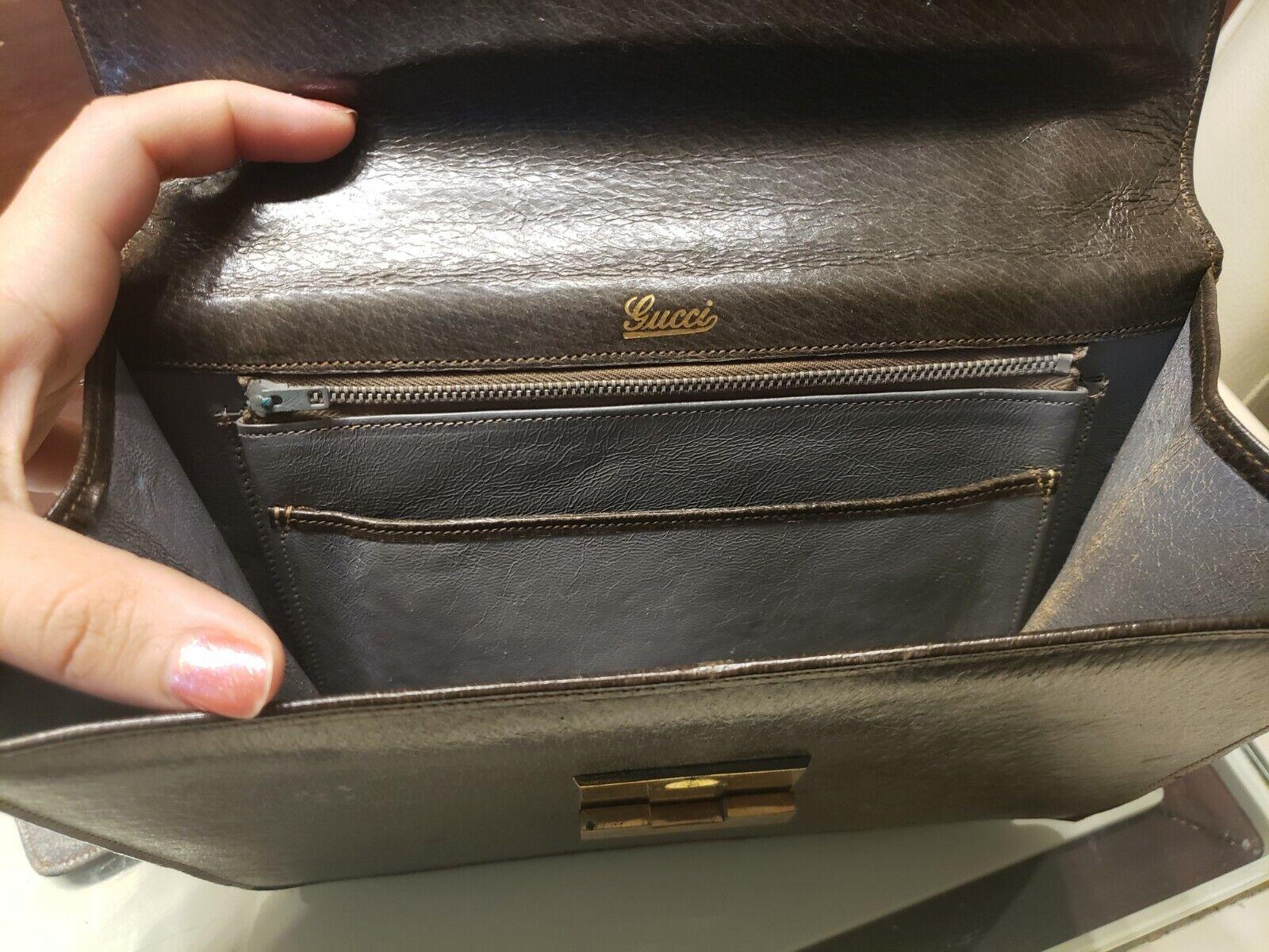 Vintage GUCCI Classic Brown Kelly Purse Handbag T… - image 6