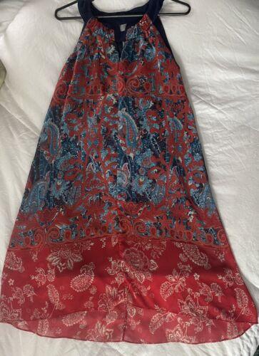 Cb Established 1962 Dress Sz 10 Red & Blue Sheer … - image 1