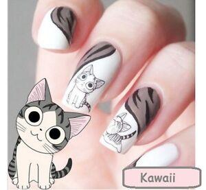 Image Is Loading Nail Art DECALS Kawaii Cat Cartoon Cute Water