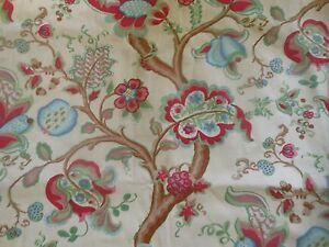 Vintage Retro Indienne Jacobean Floral Fabric ~ Pink Blue ...