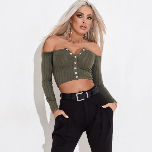 By Alina Damentop Cropped T-Shirt Pullover Longsleeve Ripp Shirt XS S M