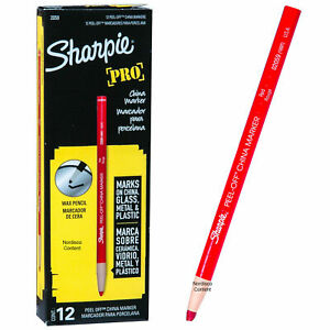 Sharpie Pro Red Peel Off China Marker, Grease Pencil, 2059, 1 DOZEN