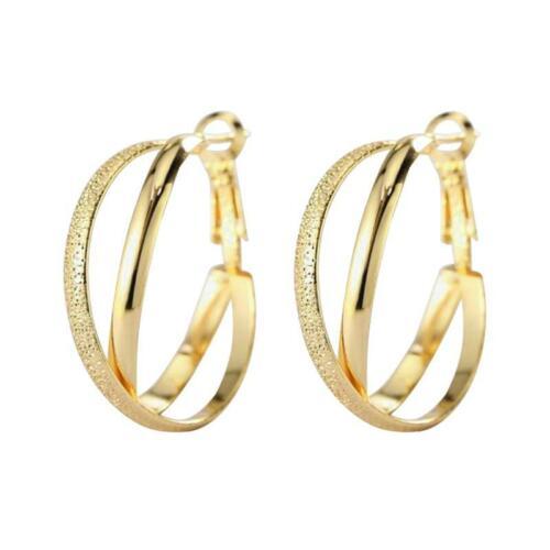 Punk Women Simple Baby Girl Double Hoop Circle Earrings Jewellery Gift FA