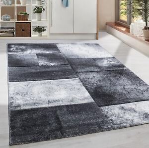 Moderner-Design-Konturschnitt-Kurzflor-Teppich-Patchwork-Wohnzim-Grau-Meliert