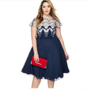 comfortable feel exquisite style discover latest trends Details about Chi Chi London - Navy lace 'Ceska' midi plus size prom dress  Size 16 BNWT