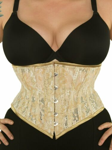 "New 201 Authentic Gold Tan Beige Lace 40/"" Underbust Waspie Steel Boned Corset"
