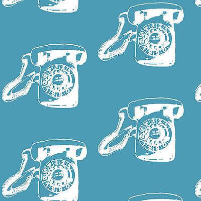 Benartex Fabric - Call Me - Turquoise - Vintage Scrapbook telephone phone
