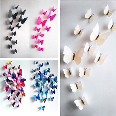 Lot 12pcs DIY 3D Butterfly Pvc Art Wall Sticker Decal Home Decor Kids Room Mural