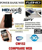 Spy Camera Light Wifi + Sd 8 Gb Video Micro Power Bank Full Hd Motion Cw152