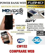 SPY Camera Spia WIFI + SD 8 GB TELECAMERA MICRO  POWER BANK FULL HD MOTION CW152
