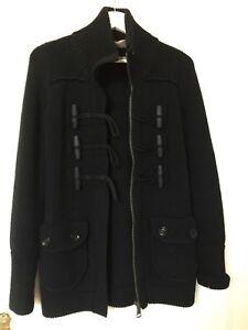 Button Cardigan Burberry S Wool Brit Taglia Knob qUxvZ
