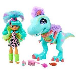 Cave Club Spielset mit Rockelle Puppe, Dinosaurierfigur und Zubehörteilen