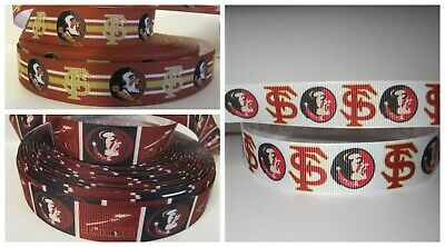 "5 Yards 7//8/"" Florida State Seminoles Ribbon Grosgrain Crafts Bows Scrapbooking"