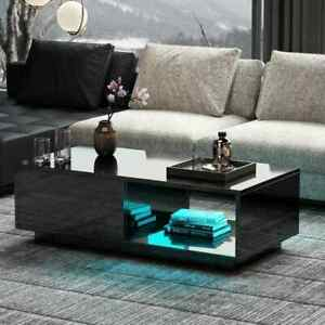 Details About Black High Gloss Coffee Table Modern Living Room Table With Leddrawer Storage