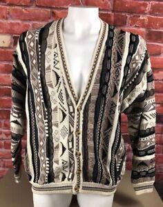 VTG-Cotton-Traders-Herren-XL-Cardigan-3f-Texturiert-Pullover-COOGI-Bill-Cosby-Biggie-90s