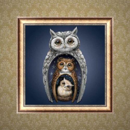 DIY Owl 5D Full Diamond Painting Rhinestone Embroidery Cross Stitch Craft Decor