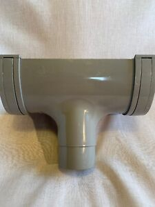 Polypipe RD505 117mm Deep Flow Rainwater Gutter Fitting Grey - Running Outlet