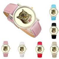 Women Girl Stylish Cute Cat Pattern Leather Band Analog Quartz Vogue Wrist Watch