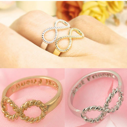 UK BFF Letter Best Friend Punk Siver/&Gold Infinity 8 Bowknot Friendship Rings