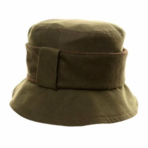 Women/'s Two Tone Wax Hat With Wide Band Detail Tan or Olive
