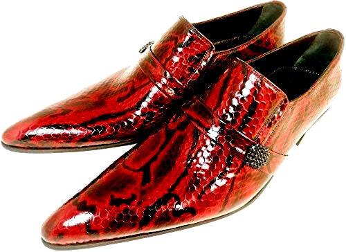 Chelsy más grandilocuente señores zapato Slipper Python regaIan rojo rojo suela de cuero 39
