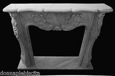 Camino Marmo Bianco Luigi XVI Old White Marble Fireplace Handmade Vintage Design