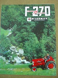 catalogue dépliant mc cormicck F 270 syncro 12 vitesses tracteurs 3 versions