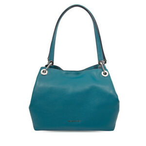 Michael Kors Raven Large Pebbled Leather Shoulder Bag- Teal 30H6SRXE3L-402