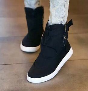 New Womens High Top Comfort Flat Canvas Shoes Lace Up ...