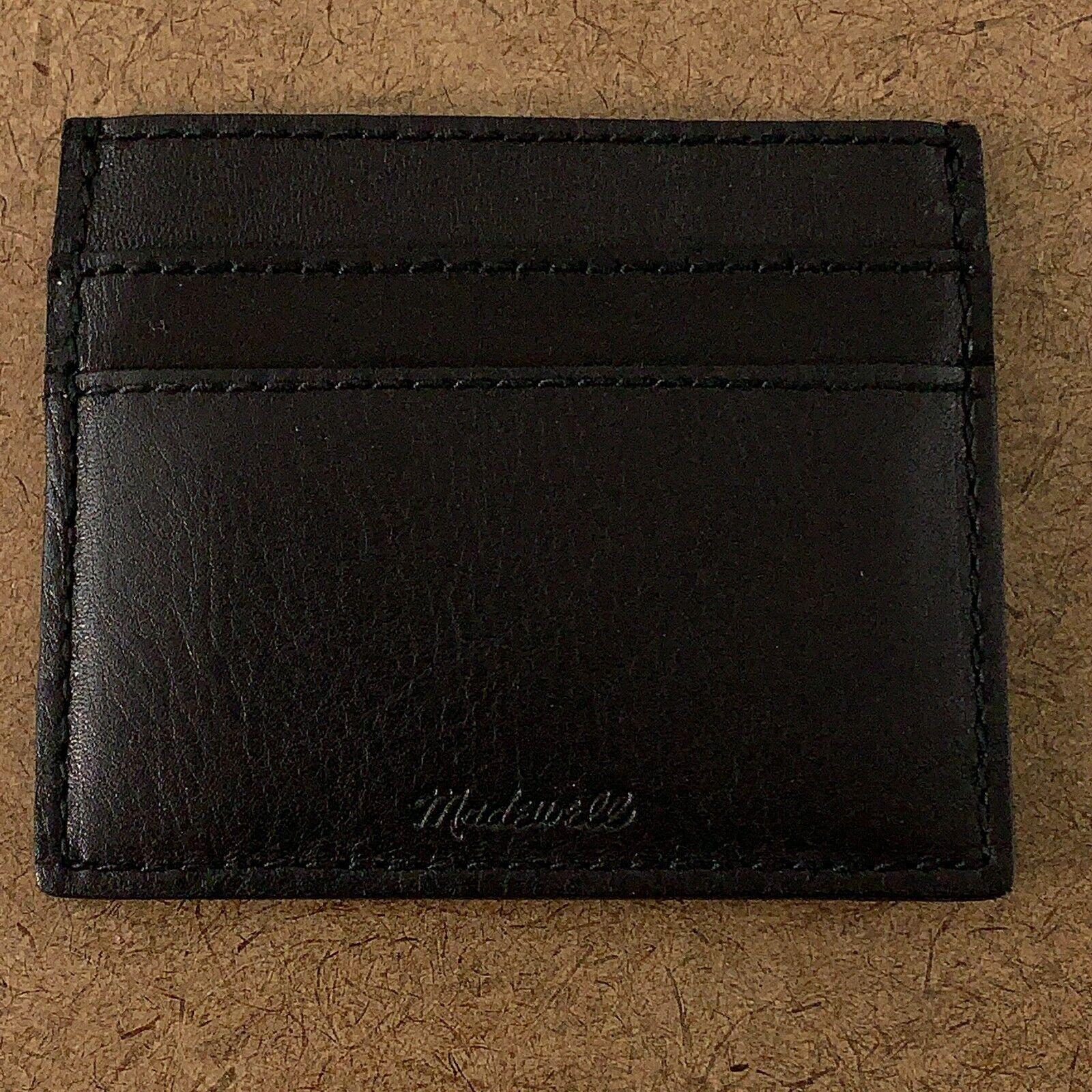 Madewell Women's True Black The Leather Card Case G2704 AHB Monogram NWT