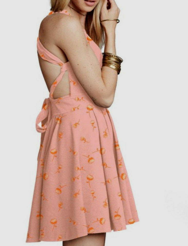 Free People Sleeveless For You Floral Print Fit & Flare Halter Dress Pink 8
