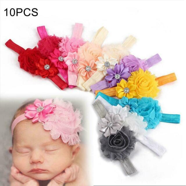 10Pcs Cute Baby Girl Kids Chiffon Toddler Flower Bow Headband Hair Band Headwear