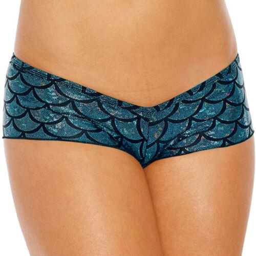 Women/'s Shorts Shiny Metallic Mermaid Fish Scale Short Pants Underwear Hipster