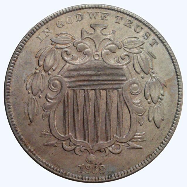 1868 5C Shield Nickel