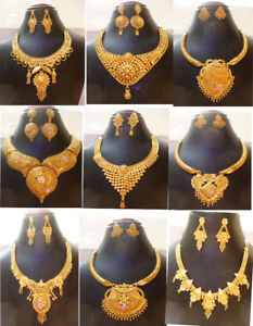 22K Indian Gold Plated Wedding Necklace Earrings Jewelry ...