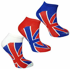 Kids Trainer Socks Union Jack Design Boys Girls Funky Summer Liners (3 pack)