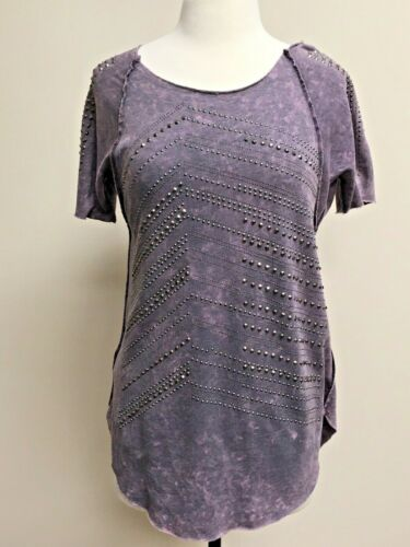 NWT Vocal Purple Short Sleeve Decorated Tunic Shirt Made In USA