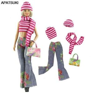 Fashion-Doll-Clothes-Set-For-Barbie-Doll-Top-Denim-Jeans-Handbag-Outfits-1-6-Toy