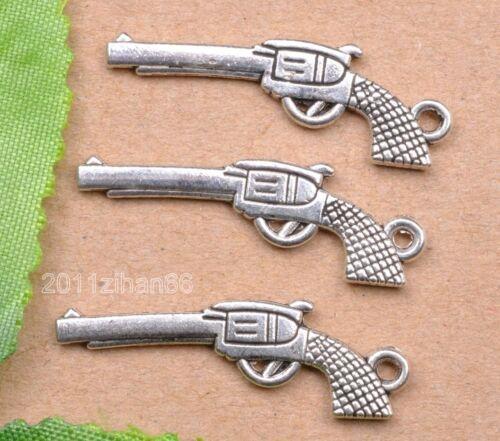 wholesale 10pcs tibetan silver gun charm pendant finging 32mm