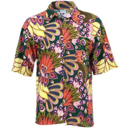 Men/'s Loud Shirt Retro Psychedelic Funky Party Hawaiian Tropical GREEN