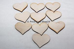 50 Stück Holz Herz Streuherzen Dekorherzen Tischdeko Basteln Schmücken