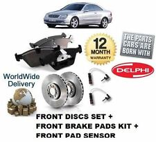 FOR MERCEDES CLK 230K KOMPRESSOR 97-02 FRONT BRAKE DISCS SET + PADS KIT + SENSOR