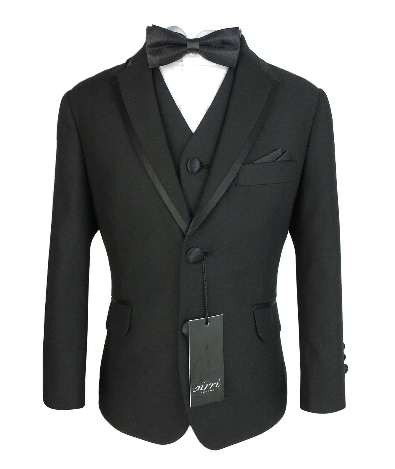 Boys Black Piping Tuxedo Dinner Suit Kids Page Boy Wedding Party Prom Outfit