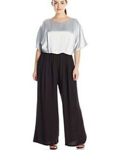 ABS-Allen-Schwartz-Womens-Jumpsuit-Size-22W-Short-Sleeve-Dressy-Silver-Black-New