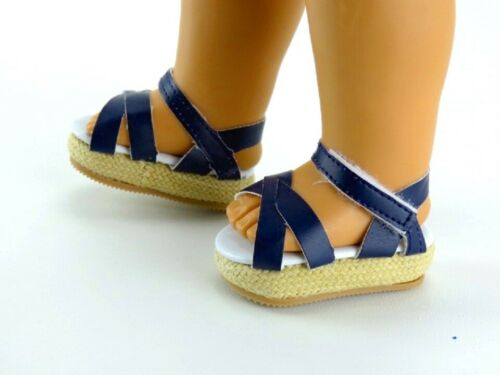 """Doll Clothes 18/"""" Sandals Wedge Navy Blue Fits American Girl Dolls"""