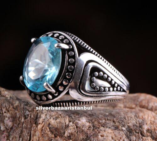 Turkish Jewelry 925 Sterling Silver LİGHT aquamarine stone Men ring us ALL SİZE