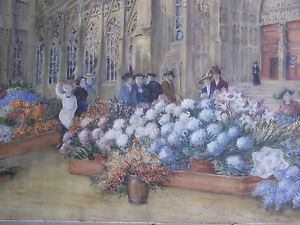 Flower-Market-with-a-Gothic-Cathedral-Great-French-Aquarelle